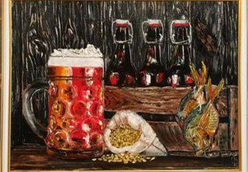 Картина маслом «Натюрморт с пивом»