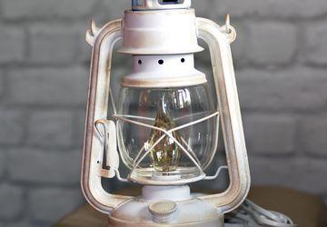 Настольная лампа электрическая Керосинка белая