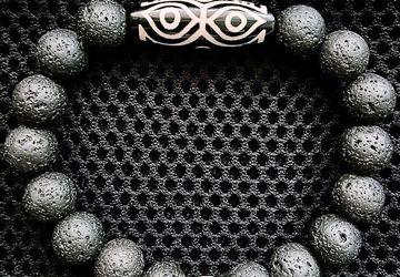 Мужской браслет из вулканической лавы с Дзи Глаза Дракона и 3 глаза