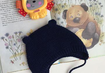 Детская шапочка-чепчик с ушками