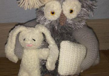 Сова сплюшка с подушкой и зайчиком