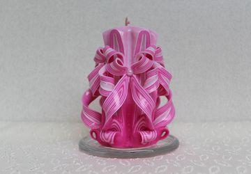 Резная свеча Розовые цветы
