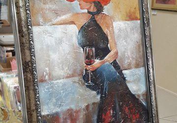 картина маслом Женщина с бокалом.