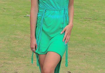 Зеленое платье хлопковое с принтом