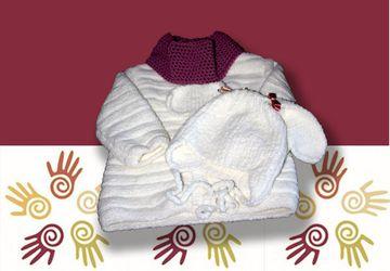 Вязаный плюшевый комплект для девочки (пальто, шапочка и шарф-снуд)