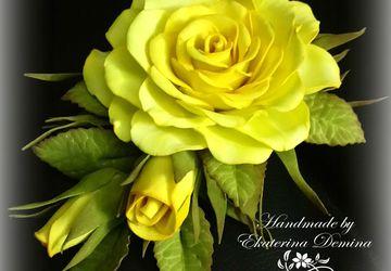 """Заколка """"Желтая роза"""""""