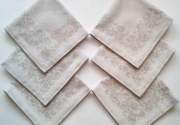 Комплект салфеток из  двустороннего льна с орнаментом