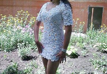 Вязаное белое платье.
