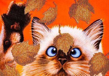 Картина из бисера Котенок в листьях