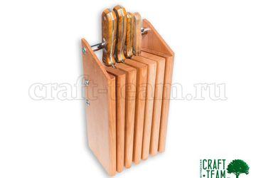 Подставка из бука для 6 ножей