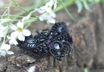 """Бабочка из бисера """"Черный Бражник"""""""