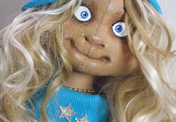 Милые малышки - куколки Амелия и Милана выполнены только из натуральных материалов в технике ,,грунтованный текстиль,,