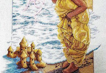 Вышитая картина Замок из песка