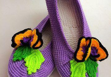 Балетки тапочки сиреневые с бабочками