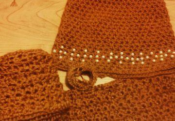комплект шапка с ушками + шарфик