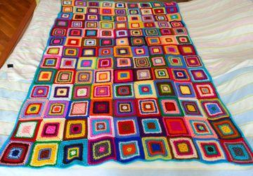 Детский плед из разноцветных мотивов. 120/120