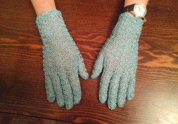 Вязаные ажурные перчаточки