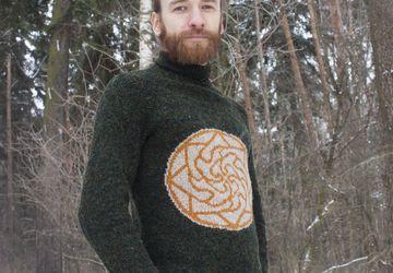 Мужской свитер со славянской символикой - Здрабережень