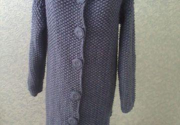 Пальто с объемными цветами, серый джинс
