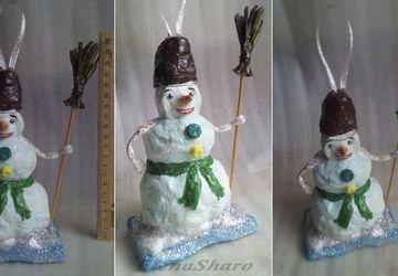 Новогодняя елочная игрушка «Снеговик».