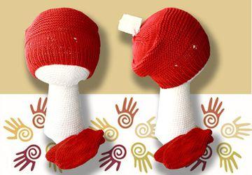 Летняя вязаная шапочка и варежки из хлопка
