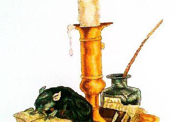 Вышитая крестом картина- Архивариус (мышь, крыса)