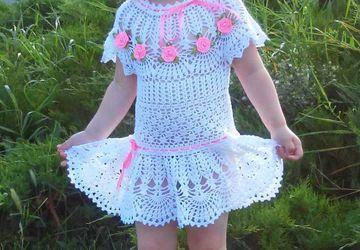 Платье и повязка  для девочки крючком !