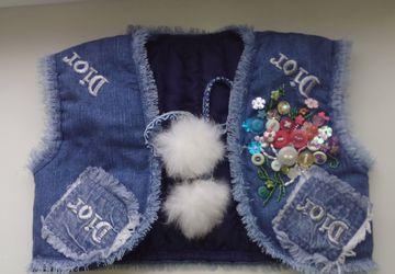 Джинсовые жилетки для девочек