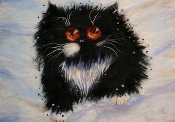 "Картина из шерсти ""Котик""."