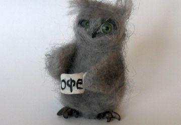Валяная миниатюра Сова Доброе утро!