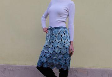 Ажурная мохеровая юбка