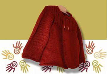 Вязаная, коричневая кофточка для девочки