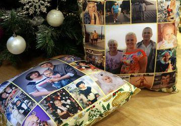 Новогодняя подушка с фотографиями