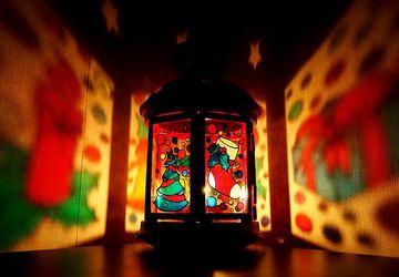 Новогодний фонарик (подсвечник), ручная роспись