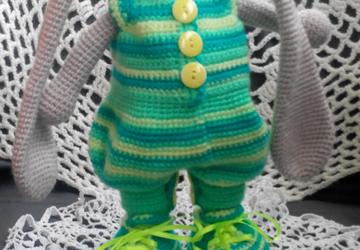 Заяц в зеленом комбинезоне