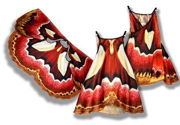 Сарафан, имитирующий крылья бабочки Ротшильдия, фотопринт