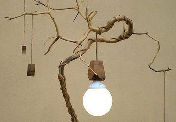 Деревянный LED настольный светильник из элементов вяза, ясеня и ореха,  ручная работа