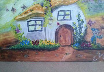 """Картина маслом на холсте """"Дом- гриб"""""""