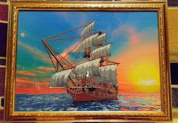 """Картина вышитая бисером """"Корабль"""""""