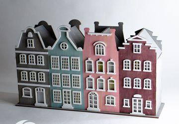 Ночник из дерева Голландские домики