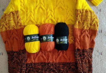 пуловер Осенний каприз, шапочка и митенки в подарок!!!