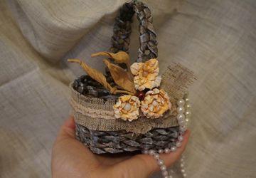 Шебби-корзинка из бумажной лозы
