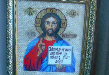 Вышитая икона Спасителя (счетный крестик)