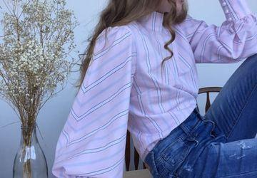 Блузка из розового хлопка