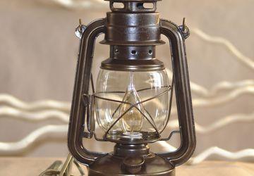 Настольная Керосиновая лампа в ретро стиле коричневая