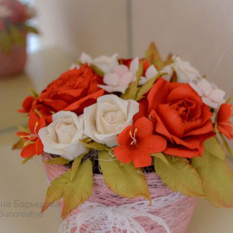 цветы_аксессуар_suncreative композиция цветы. фоамиран букет праздник цветочная гортензия роза подарок