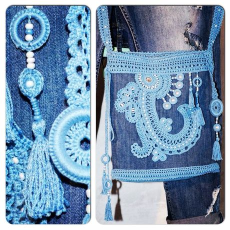 джинс сумочка крючком