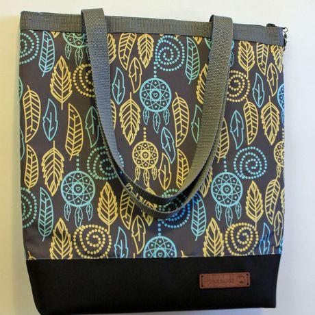 сумка узор handmade серый листва плечо вместительная на