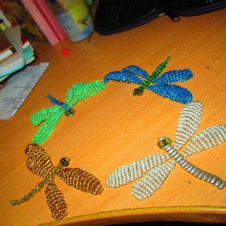 украшение бисер сувенир стрекоза