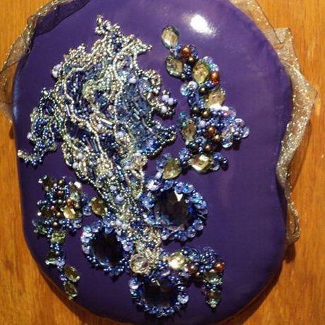 вышивка картины панно handmade фиолетовый ручнаяработа хендмейд вышитаякартина цветы картина аббигли
